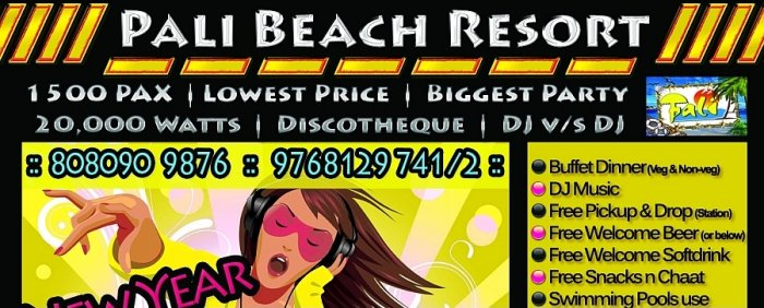 New Year Party 2014  just Rs.1250  in Pali Beach Resort Mumbai
