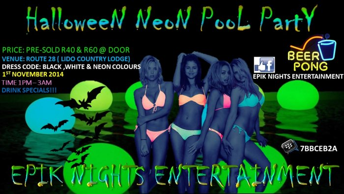 Halloween Neon Pool Party At Venue Route 28 Lido Country Lodge Jagfontein Johannesburg