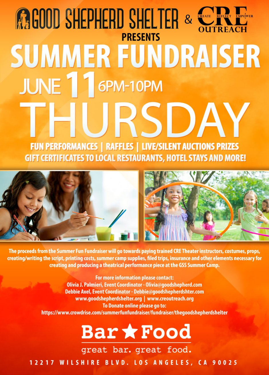 Summer fun fundraiser for the children at the good for Bar food 12217 wilshire blvd los angeles ca 90025