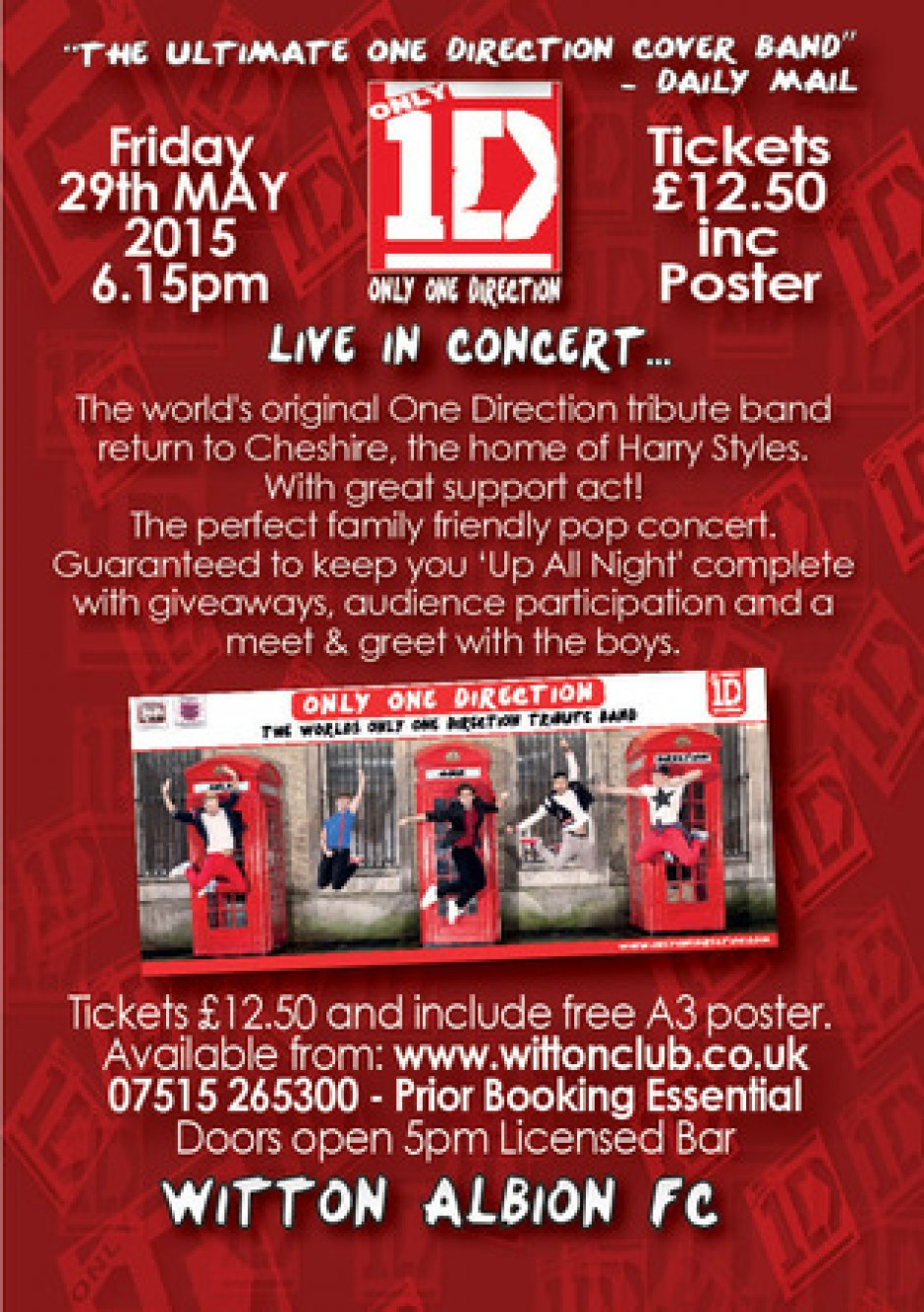 Only One Direction 1d Tribute Live In Concert Plus Support Act At