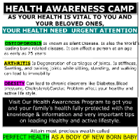 Visit Our Health Awareness Program to get your familys health fully protected with the knowledge &amp information and very important tips on leading Healthy and active lifestyle.
