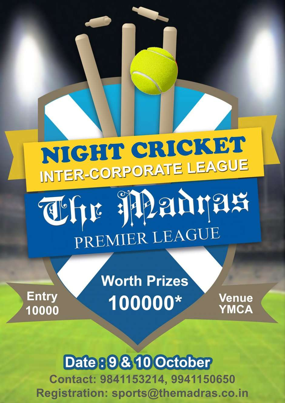 Invitation For Corporate Cricket Tournament: Inter Corporate Night League (Tennis Ball Cricket
