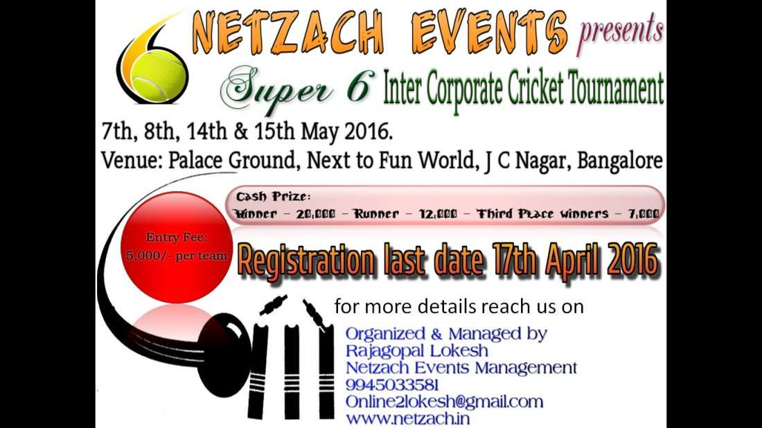 Invitation For Corporate Cricket Tournament: Netzach Inter Corporate Super 6 Cricket Tournament At