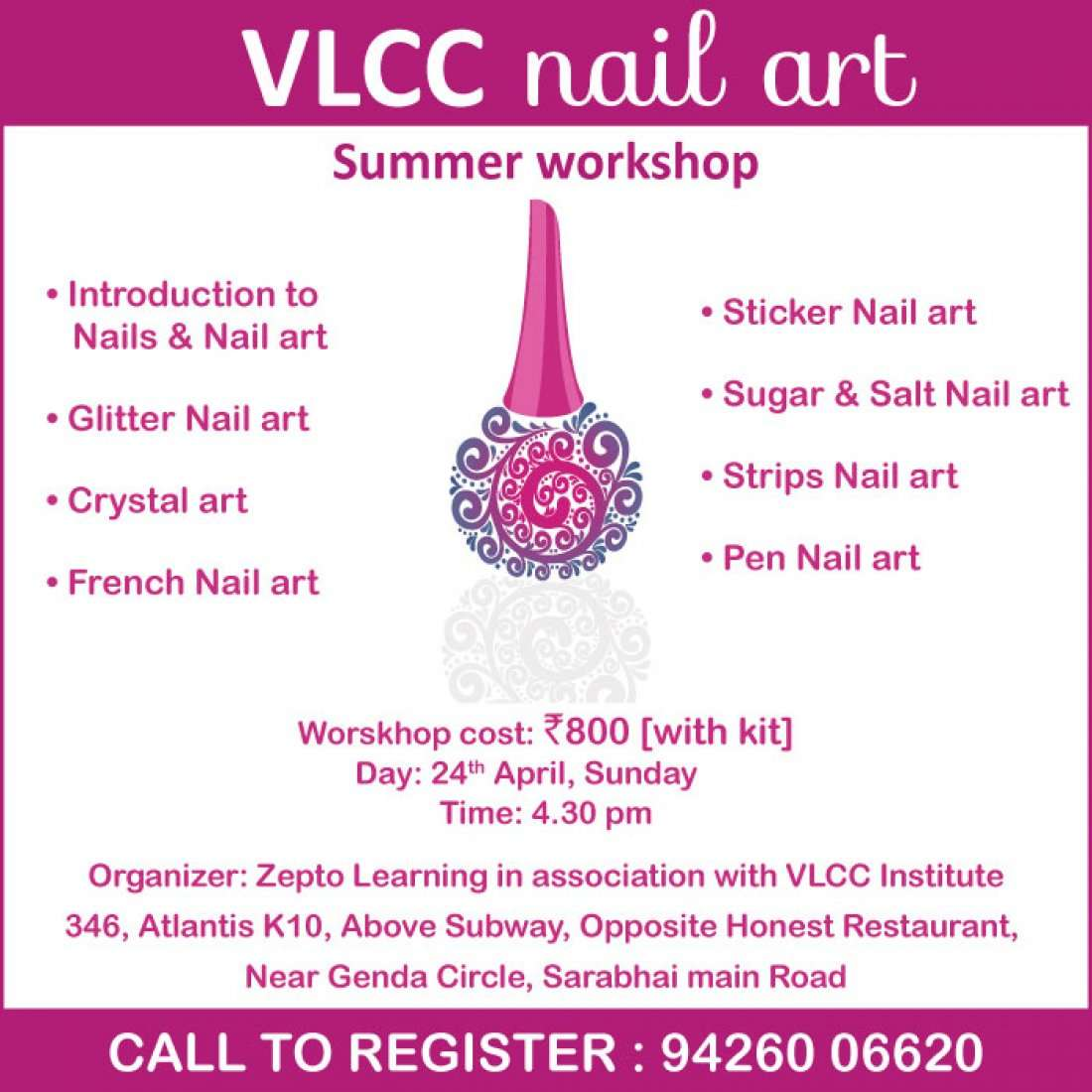 VLCC Nail Art Workshop At ZEPTO LEARNING CENTER A-346
