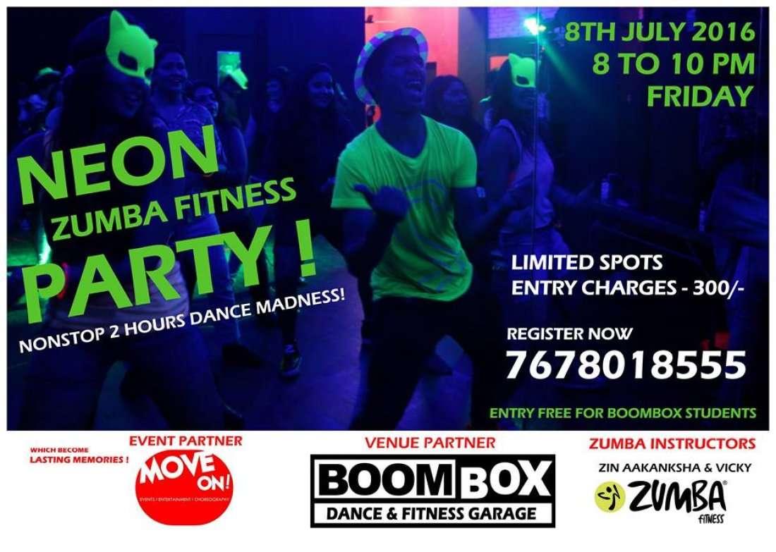 Zumba neon party at boombox dance fitness garage mumbai